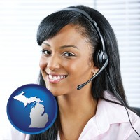 michigan map icon and a customer service representative