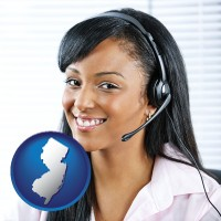 new-jersey map icon and a customer service representative