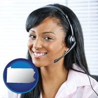 pennsylvania map icon and a customer service representative