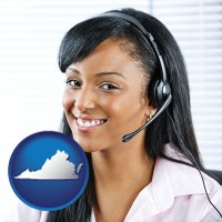 virginia map icon and a customer service representative